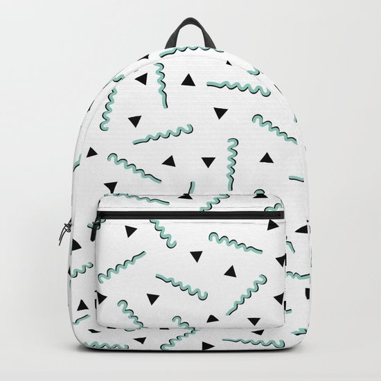 Retro Memphis Pattern Squiggle Green and Black Triangles Backpack