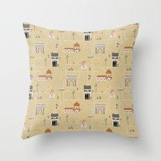 Florence Map Print Illustration Throw Pillow