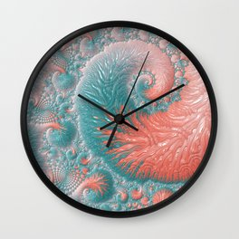 Abstract Coral Reef Living Coral Pastel Teal Blue Texture Spiral Swirl Pattern Fractal Fine Art Wall Clock