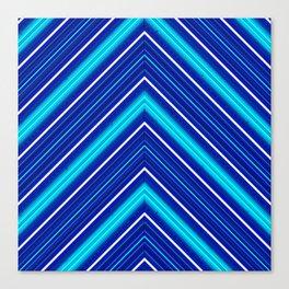 Morn Diagonal Chevron Sripes Shades of Blue Canvas Print
