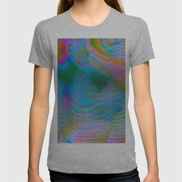 Analogue Glitch Electric Gradient Waves T-shirt