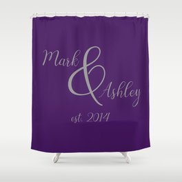 Plum and Grey Shower Curtain