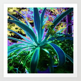 GRACEFUL BLUE-GREEN AGAVE & YELLOW DAISIES FLORAL ART Art Print