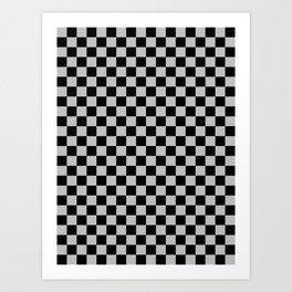 Black and Gray Checkerboard Art Print
