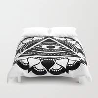 all seeing eye Duvet Covers featuring All Seeing Eye by Lonewolfdesign