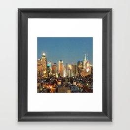 New York City Night Lights Framed Art Print