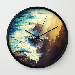 Mid Century Modern Round Circle Photo Graphic Design Blue Waters Rocky Shores With Sunlight Wall Clock