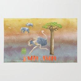 Run Fun - Ostrich Bird Animal Africa  Illustration Rug