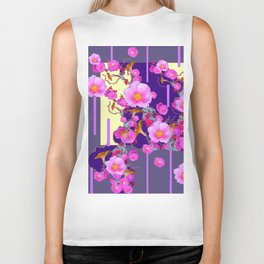 Modern Artwork Pink Wild Roses Purple Grey Design Biker Tank