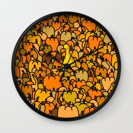 Duck in a Pumpkin Patch Wall Clock