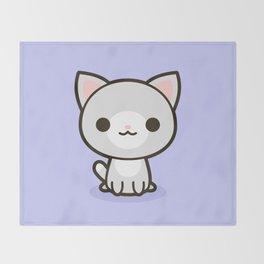 Kawaii Kitty 1 Throw Blanket