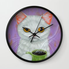 WHITE CAT AND BLACK COFFEE Wall Clock