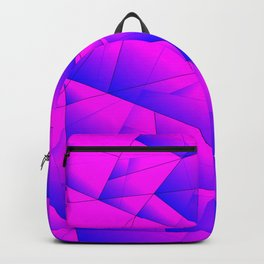 Pattern of purple and lilac triangles and irregularly shaped lines. Backpack