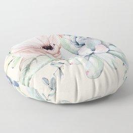 Elegant Blush Pink Succulent Garden by Nature Magick Floor Pillow