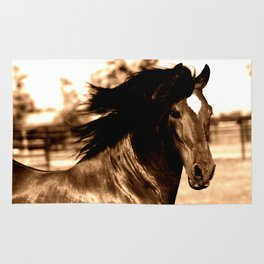 Horse print horse photography equestrian art sepia Poster Rug