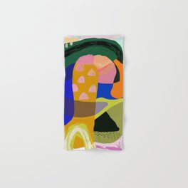 Shapes and Layers no.20 - Abstract painting olive green blue orange black Hand & Bath Towel