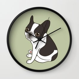 Say hello to the cute double hooded pied French Bulldog Wall Clock