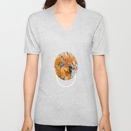 Collusion - Abstract in black, gold and white Unisex V-Neck