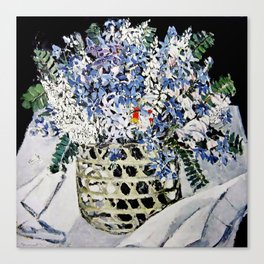 """Mixed Flowers in a Basket"" by Margaret Preston Canvas Print"