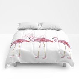 Three Flamingos #society6 Comforters