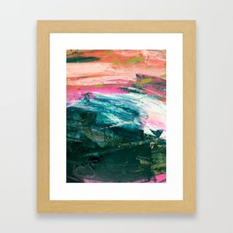Meditate [4]: a vibrant, colorful abstract piece in bright green, teal, pink, orange, and white Gerahmter Kunstdruck