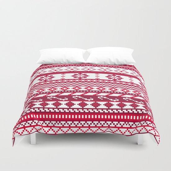 Red Fair Isle Christmas Pattern Duvet Cover