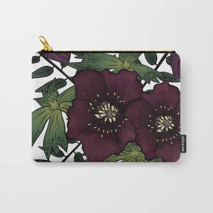 Winter Hellebore Blossoms Carry-All Pouch
