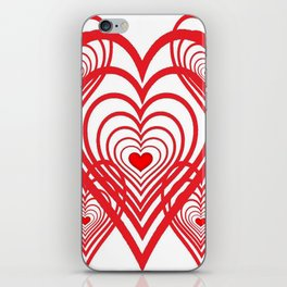0PTICAL ART RED VALENTINES HEARTS IN HEARTS DESIGN iPhone Skin