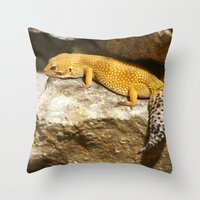 lizard Throw Pillows featuring Lizard by GardenGnomePhotography