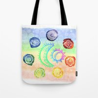 om Tote Bags featuring OM by Sara Eshak