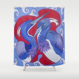 Triumphant Tricolored Herons Shower Curtain