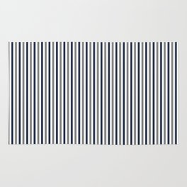Navy White And Grey Vertical Stripes Rug
