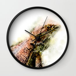 Iguana in watercolor Wall Clock