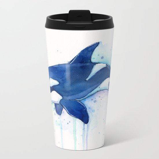 Killer Whale Orca Watercolor Painting Animal Art Metal Travel Mug