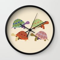 turtles Wall Clocks featuring Turtles by TypicalArtGuy