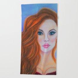 Glamorous Redhead Jessica Rabbit Beach Towel