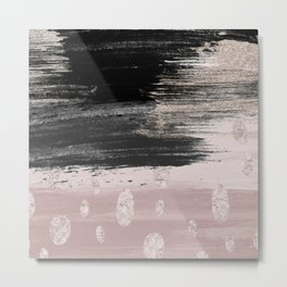 Abstract blush pink black gray gold glitter brushstrokes Metal Print