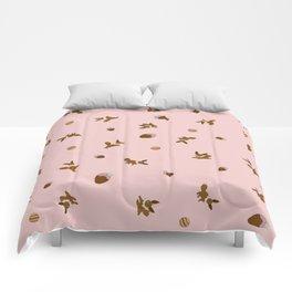 Eevee Chocolate Pink Strawberry Print Comforters