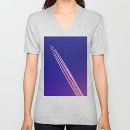Deep Blue Sky and Plane Unisex V-Neck