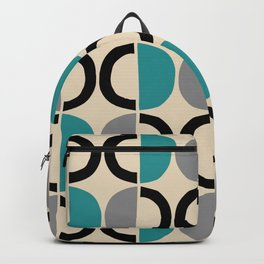 Mid Century Modern Half Circle Pattern 550 Beige Black Gray and Turquoise Backpack