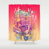 building Shower Curtains featuring Building Clouds by FalcaoLucas