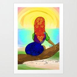 Kuna girl watching the sunset Art Print