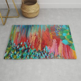 REVISIONED RETRO - Bright Bold Red Abstract Acrylic Colorful Painting 70s Vintage Style Hip 2012 Rug