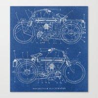 blueprint Canvas Prints featuring Motorcycle blueprint by marcusmelton