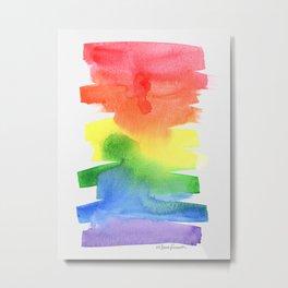 Rainbow Watercolors Metal Print