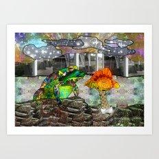 Doodlage 05 - Frog and Fungus   Art Print