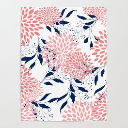 Festive, Floral Prints and Leaves, Navy Blue, Pink and White Poster