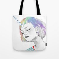 pony Tote Bags featuring PONY by OrangeBeard
