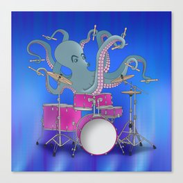 Octopus Playing Drums - Blue Canvas Print