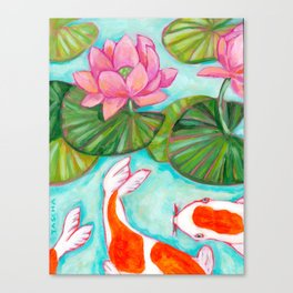 Koi Fish in Lotus Lily Pad pond painting by Tascha Parkinson Canvas Print